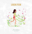 Invitation card with a pretty girl running on vector image