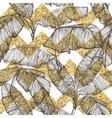 Palm leaves on golden glitter chevron background vector image vector image