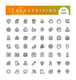 thanksgiving line icons set vector image