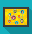 tablet computer with social network and friendship vector image vector image