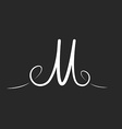 M letter logo monogram with twirls thin line vector image
