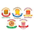 Takeaway meal symbols for fast food design vector image