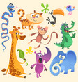 cartoon of tropic wild animals set vector image