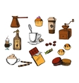 Coffee drinks and dessert icons vector image