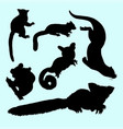 weasel squirrel and koala animal silhouette vector image