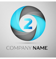 Number two logo symbol in the colorful circle vector image