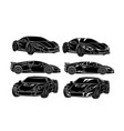 six cars silhouettes vector image