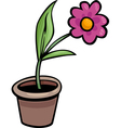 Flower in pot clip art cartoon vector image