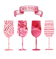 Set of art watercolor wine glass vector image