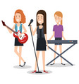 band of musicians girls playing musical vector image