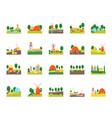 cartoon eco farm color icons set vector image