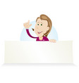 cartoon housewive holding ad sign vector image