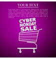 Cyber Monday Sale Shopping cart flat icon over vector image