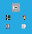 flat icon strongbox set of protection closed vector image
