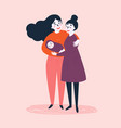 gay lesbian couple with baby child and parents vector image