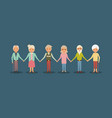 group elderly people holding hands smiling people vector image