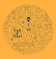 halloween background round set of vector image