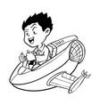 hand drawn boy drive aircraft-cartoon vector image