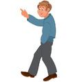 Happy cartoon man walking and pointing vector image