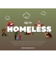 Help for homeless banner with hungry beggar vector image