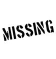 Missing black rubber stamp on white vector image