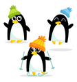 Set of three cute penguins isolated on white vector image