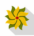 yellow abstract flower icon flat style vector image