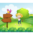 A woman dancing near an arrow board with a bird vector image