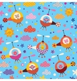 cute animals in helicopters kids seamless pattern vector image