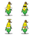 collection set sweet corn character cartoon vector image