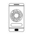 smartphone with food app with donut icon in black vector image