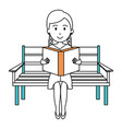 woman reading book in park chair vector image