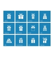 Gift box icons on blue background vector image