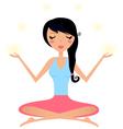 Cute woman doing yoga asana isolated on white vector image