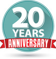Flat design 20 years anniversary label with red vector image vector image