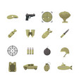 cartoon color army weapons icons set vector image