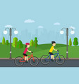 cycling man with woman on bikes ride in city park vector image