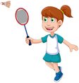 funny girl cartoon playing badminton vector image