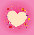 heart frame with flowers and birds vector image