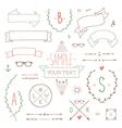 Hipster set ribbon vector image