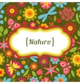 Natural card with beautiful flowers beetles and vector image