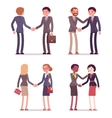 Set of four business pairs handshaking vector image