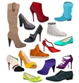 Womens fashion collection of shoes vector image