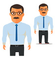 Man with glasses in white shirt with blue Tie vector image