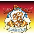 Oktoberfest label with beer pretzels and sausages vector image