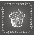 Chalk cupcake with sprinkles and vintage frame vector image