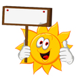 sun cartoon holding blank board vector image