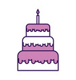 cute purple birthday cake cartoon vector image