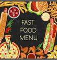 fast food menu restaurant banner vector image