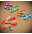 Glass box with business colorful ribbon banner vector image